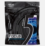 Five Focus Peppermint Gum 15 Stick Pack, (Pack of 10)
