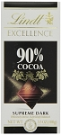Lindt Excellence Supreme Dark 90 Percent Cocoa Chocolate Bars, (Pack of 12)