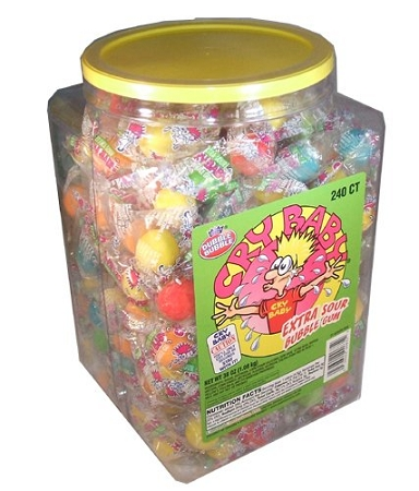 Cry Baby Extra Sour Bubble Gum 240 Count Tub