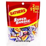 Sathers Super Bubble Gum, (Pack of 12)