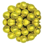 Yellow Foil Wrapped Milk Chocolate Balls, (10 Pounds)