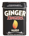 Ginger Zingers Mango Flavored Candy 1.07 Ounce Tins, (Pack of 12)