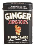 Ginger Zingers Blood Orange Flavored Candy 1.07 Ounce Tins, (Pack of 12)