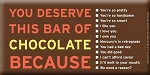 Bloomsberry You Deserve This Bar Chocolate Bar 3.5 Ounce Dark Chocolate Bars, (Pack of 10)