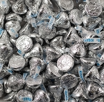 Bulk Silver Hersheys Kisses, 25 Pounds