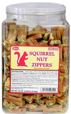 Necco Squirrel Nut Zippers Candy, (Pack of 240)