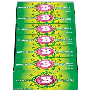 Bubblicious Sour Apple, 5-Pc. Packs (18 Pack)