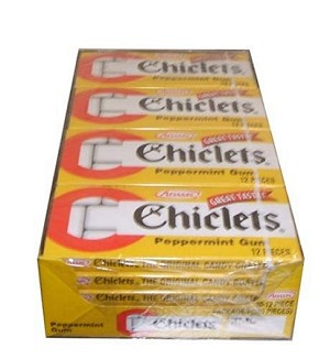 Chiclets Peppermint Gum, (Pack of 20)