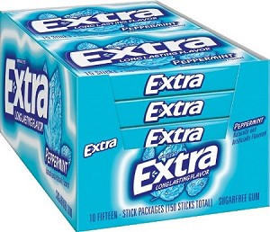 Extra Peppermint Gum Slim Pack, (Pack of 10)