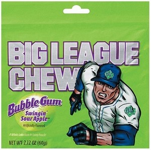 Big League Chew Sour Apple Gum, (Pack of 12)