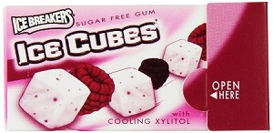 Ice Breakers Ice Cubes Raspberry Sorbet Gum, (Pack of 10)