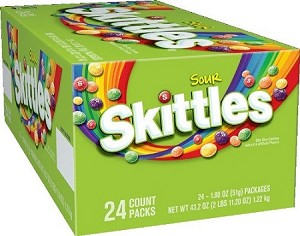 Sour Skittles Candy, (Pack of 24)
