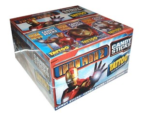 Iron Man Candy Sticks with Tattoos, (Pack of 30)