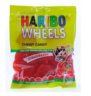 Haribo Red Licorice Wheels, (Pack of 12)
