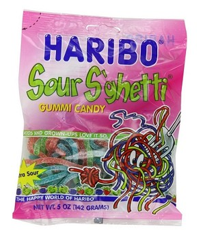 Haribo Sour Spaghetti, 5 Oz Bags (Pack of 12)