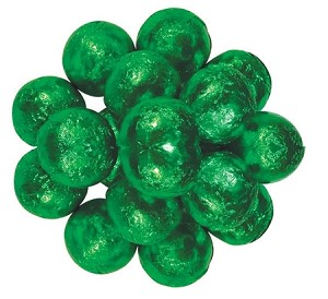 Milk Chocolate Green Foil Wrapped Chocolate Balls, 10 Pounds