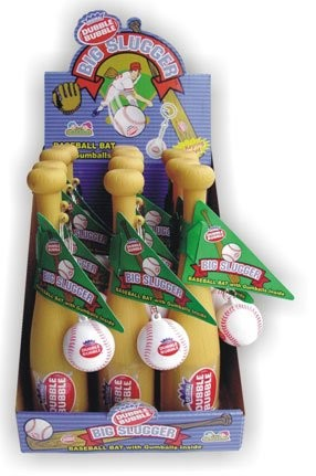 Dubble Bubble Big Slugger Baseball Candy Filled Toy, (Pack of 12)