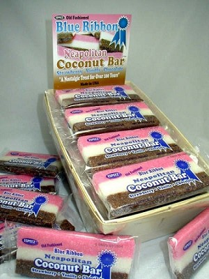 Old Fashioned Blue Ribbon Neapolitan Coconut Bars, (Pack of 24)