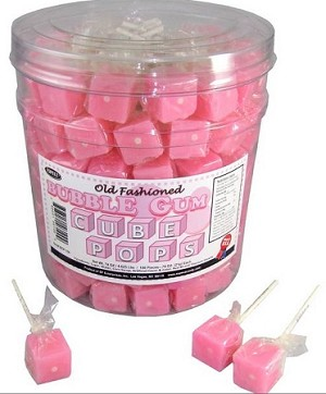 Bubble Gum Flavored Cube Shaped Lollipops, (Pack of 100)
