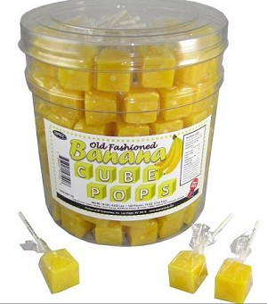 Banana Cube Dice Lollipops, (Pack of 100)