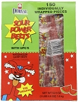 Sour Power Wrapped Watermelon Candy Belts, (Pack of 150)