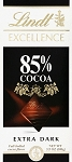 Lindt Excellence Extra Dark 85 Percent Cocoa Chocolate Bars, (Pack of 12)