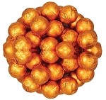 Orange Foil Wrapped Milk Chocolate Balls, (10 Pounds)