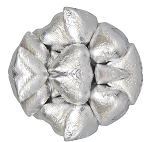 Silver Foil Wrapped Milk Chocolate Hearts, (10 Pounds)