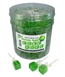 Green Apple Cube Lollipops, (Pack of 100)