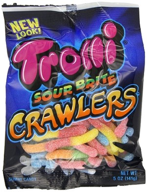 Trolli Sour Brite Crawlers, 5.0 Ounce Bags, (Pack of 12)