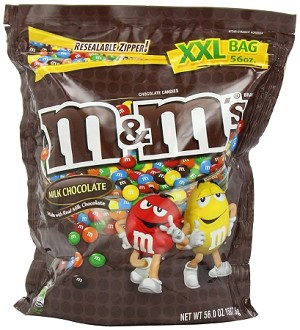 M and M Plain Chocolate Candy, 56 Ounce Bag