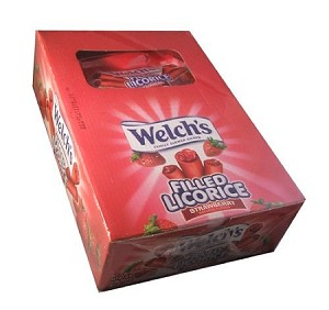Welchs Filled Licorice Strawberry Candy, (Pack of 24)