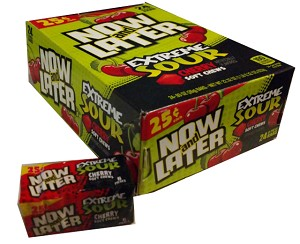 Now and Later Extreme Sour Cherry Candy, (Pack of 24)