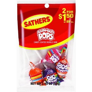 Sathers Rain Blo Pops, (Pack of 12)