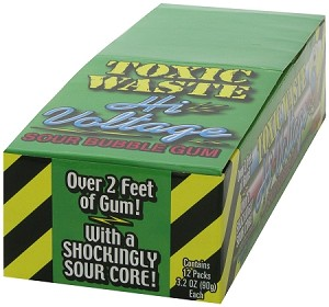 Toxic Waste High Voltage Gum, (12 Pack)