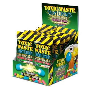 Toxic Waste Short Circuit Gum, (Pack of 12)