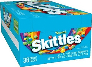 Skittles Tropical Candy, (Pack of 36)