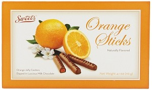 Sweets Orange Chocolate Sticks Movie Theater Size Candy, (Pack of 12)
