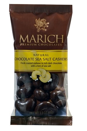 Marich Confectionery Dark Chocolate Covered Cashews With Sea Salt 2.3 Ounce Bags, (Pack of 12)