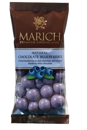 Marich Confectionery Natural Chocolate Blueberries 2.1 Ounce Bags, (Pack of 12)