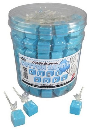 Cotton Candy Cube Lollipops, (Pack of 100)