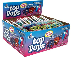 Top Pops Blazpberry Chewy Taffy Candy, (Pack of 48)